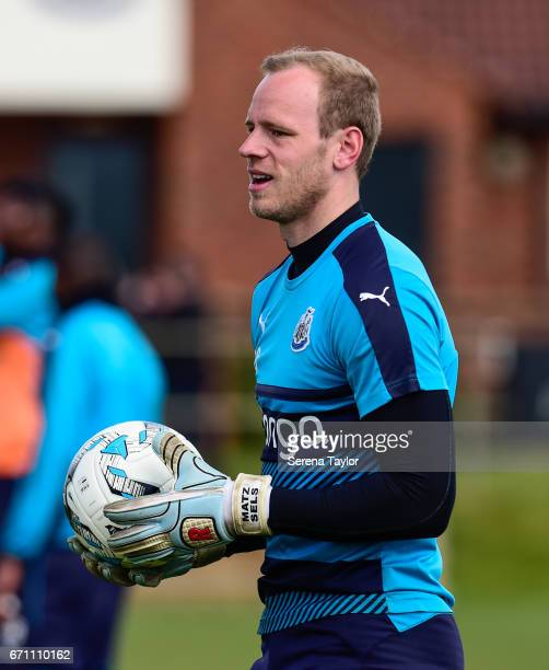 Goalkeeper Matz Sels holds the ball during the Newcastle United Training Session at the Newcastle United Training Ground on April 21 2017 in...