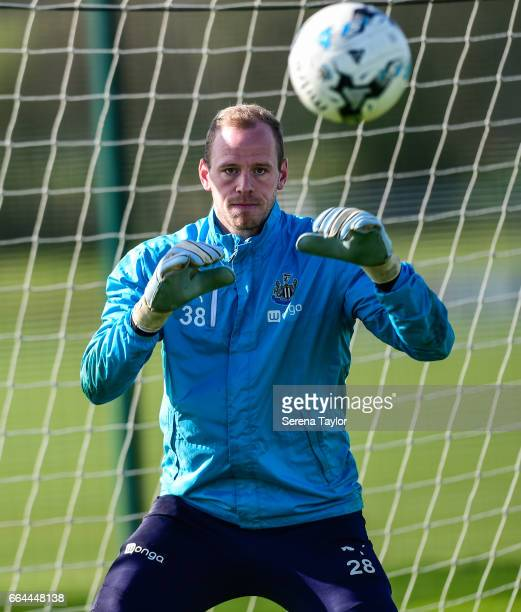 Goalkeeper Matz Sels looks to catch the ball during the Newcastle United Training Session at The Newcastle United Training Centre on April 4 2017 in...
