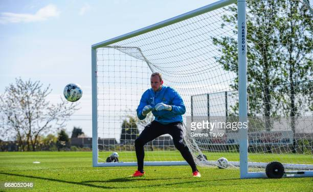 Goalkeeper Matz Sels looks to save the ball during the Newcastle United Training Session at The Newcastle United Training Centre on April 13 2017 in...
