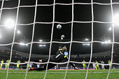 Goalkeeper Matz Sels of Gent saves a penalty in the final minutes from Alexandre Lacazette of Lyon during the UEFA Champions League Group H match...
