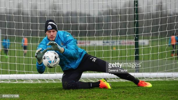 Goalkeeper Matz Sels saves the ball during the Newcastle United Training Session at The Newcastle United Training Centre on February 13 2017 in...