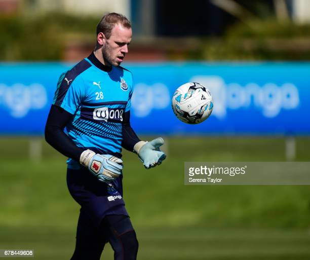 Goalkeeper Matz Sels throws the ball during the Newcastle United Training Session at The Newcastle United Training Centre on May 4 2017 in Newcastle...