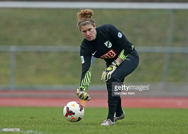 Goalkeeper Merav Shamir of Luebars throws the ball during the Women's Second Bundesliga match between 1FC Luebars and FFV Leipzig at Stadion...