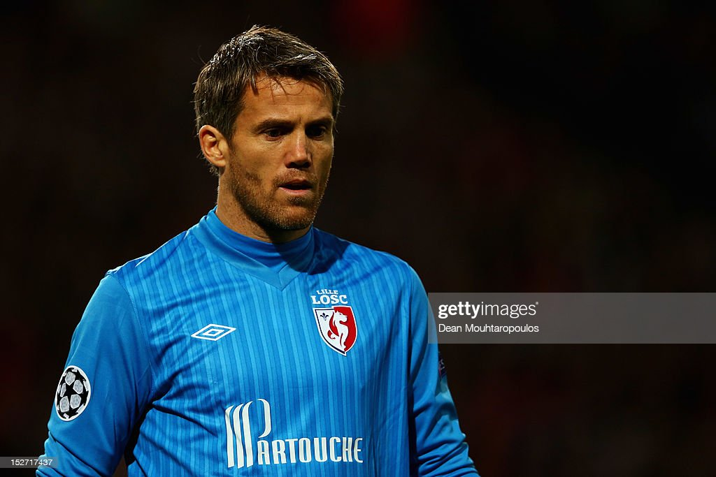 Goalkeeper, <a gi-track='captionPersonalityLinkClicked' href=/galleries/search?phrase=Mickael+Landreau&family=editorial&specificpeople=490956 ng-click='$event.stopPropagation()'>Mickael Landreau</a> of Lille looks on during the Group F UEFA Champions League match between LOSC Lille Metropole and FC BATE Borisov at the Grand Stade Lille Metropole on September 19, 2012 in Lille, France.