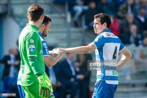 goalkeeper Mickey van der Hart of PEC Zwolle Bram van Polen of PEC Zwolle Dirk Marcellis of PEC Zwolleduring the Dutch Eredivisie match between PEC...