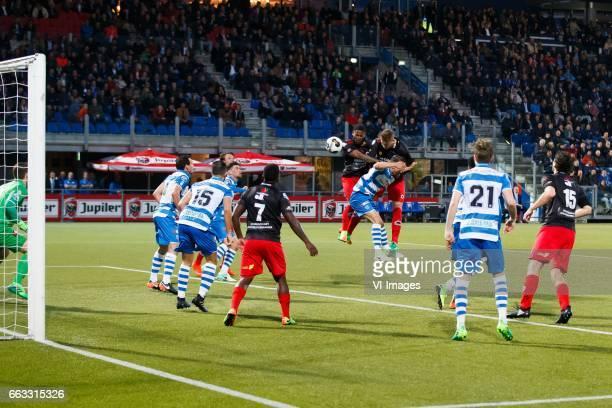 goalkeeper Mickey van der Hart of PEC Zwolle Dirk Marcellis of PEC Zwolle Ouasim Bouy of PEC Zwolle Nigel Hasselbaink of Excelsior Terell Ondaan of...