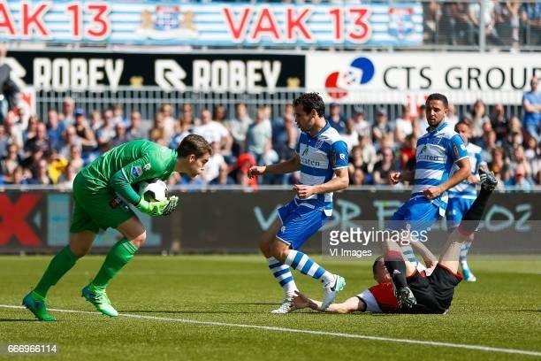 goalkeeper Mickey van der Hart of PEC Zwolle Dirk Marcellis of PEC Zwolle Jens Toornstra of Feyenoord Ouasim Bouy of PEC Zwolleduring the Dutch...
