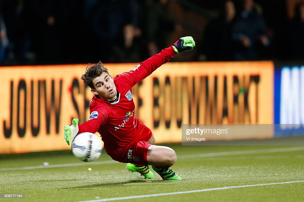 goalkeeper Mickey van der Hart of PEC Zwolle during the Dutch Eredivisie match between Heracles Almelo and PEC Zwolle at Polman stadium on February 06, 2016 in Almelo, The Netherlands