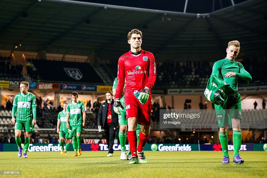 goalkeeper Mickey van der Hart of PEC Zwolle, Rick Dekker of PEC Zwolle during the Dutch Eredivisie match between Heracles Almelo and PEC Zwolle at Polman stadium on February 06, 2016 in Almelo, The Netherlands