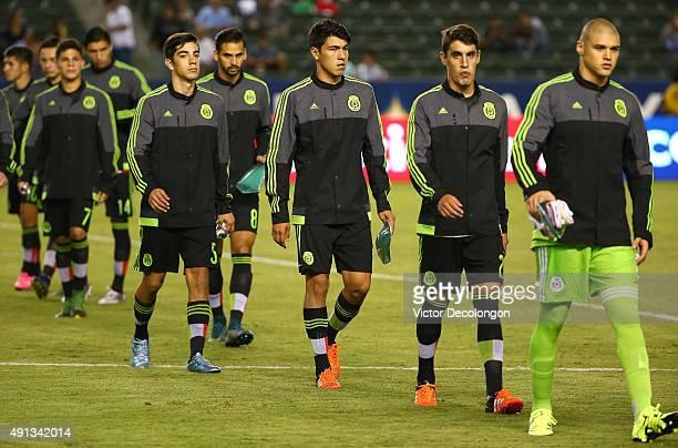 Goalkeeper Miguel Gibran Lajud JoseCarlos Van Rankin Eric Gutierrez Raul Lopez Rodolfo Pizarro Jordan Silva and Alfonso Gonzalez of Mexico walk to...