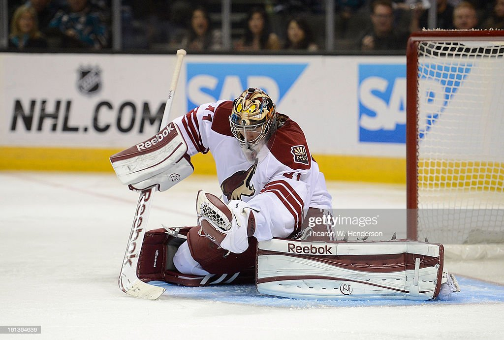 Goalkeeper Mike Smith #41 of the Phoenix Coyotes defends his goal against the San Jose Sharks at HP Pavilion on February 9, 2013 in San Jose, California.
