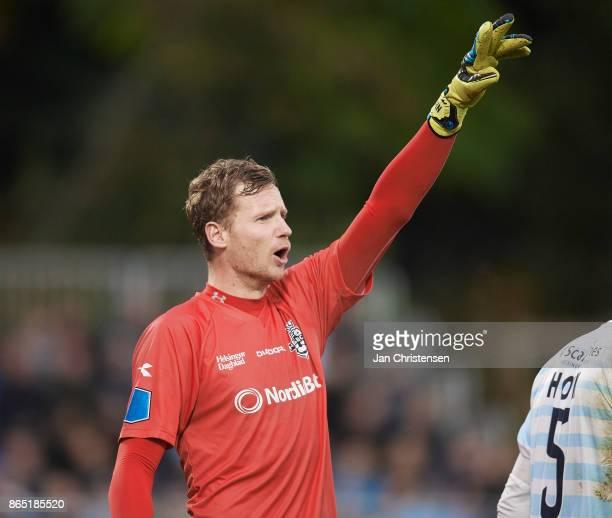 Goalkeeper Mikkel Bruhn of FC Helsingor gives instructions during the Danish Alka Superliga match between FC Helsingor and Brondby IF at Helsingor...