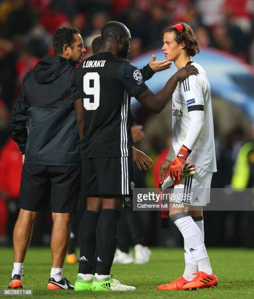 Goalkeeper Mile Svilar of Benfica is consoled at the end of the UEFA Champions League group A match between SL Benfica and Manchester United at...