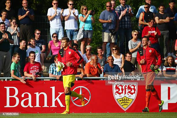 Goalkeeper Mitch Langerak arrives for the first training session of VfB Stuttgart at RobertSchlienzStadion on June 29 2015 in Stuttgart Germany