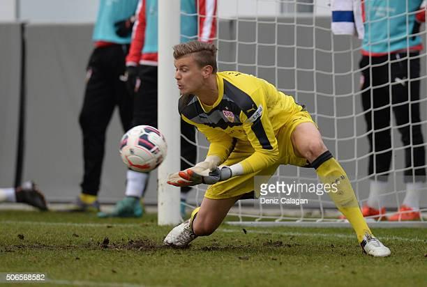 goalkeeper Mitchell Langerak of Stuttgart in action during the Third League match between VfB Stuttgart II and SG Sonnenhof Grossaspach at...