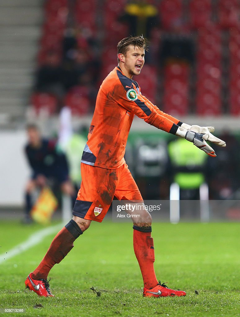 Goalkeeper <a gi-track='captionPersonalityLinkClicked' href=/galleries/search?phrase=Mitchell+Langerak&family=editorial&specificpeople=4320478 ng-click='$event.stopPropagation()'>Mitchell Langerak</a> of Stuttgart reacts during the DFB Cup Quarter Final match between VfB Stuttgart and Borussia Dortmund at Mercedes-Benz Arena on February 9, 2016 in Stuttgart, Germany.