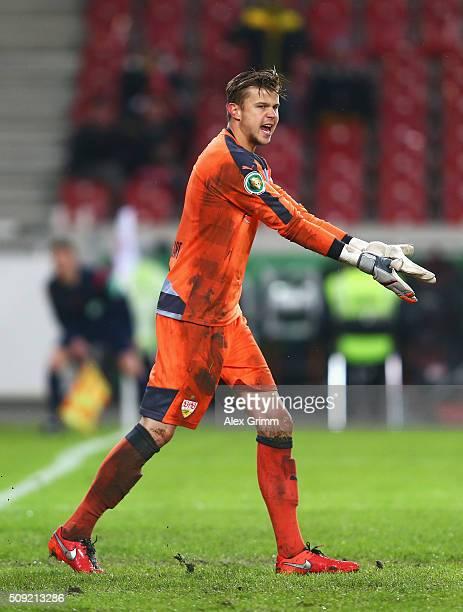 Goalkeeper Mitchell Langerak of Stuttgart reacts during the DFB Cup Quarter Final match between VfB Stuttgart and Borussia Dortmund at MercedesBenz...