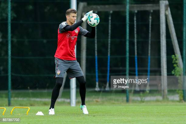 Goalkeeper Mitchell Langerak of VfB Stuttgart controls the ball during the Training Camp of VfB Stuttgart on July 10 2017 in Grassau Germany