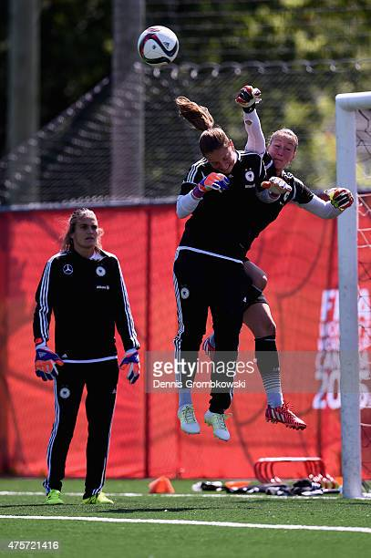 Goalkeeper Nadine Angerer Almuth Schult and Laura Benkarth of Germany practice during a morning training session at Algonquin College Soccer Complex...