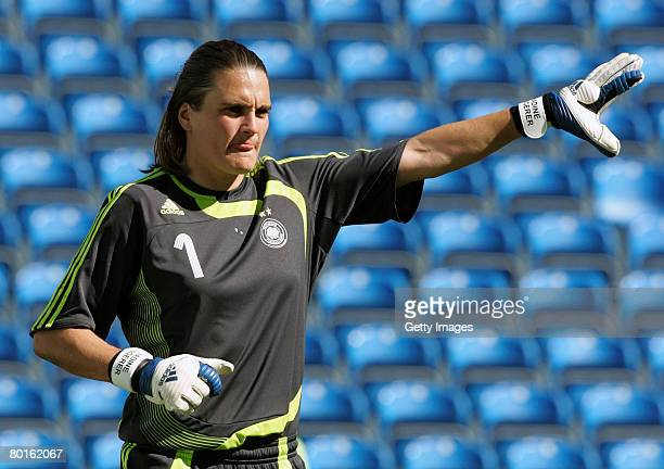 Goalkeeper Nadine Angerer of Germany gestures during the Algarve Cup match between Germany and Finland at the Algarve stadium on March 5 2008 in Faro...