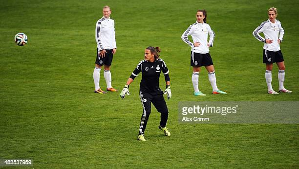 Goalkeeper Nadine Angerer reacts during a Germany training session at CarlBenzStadion on April 9 2014 in Mannheim Germany