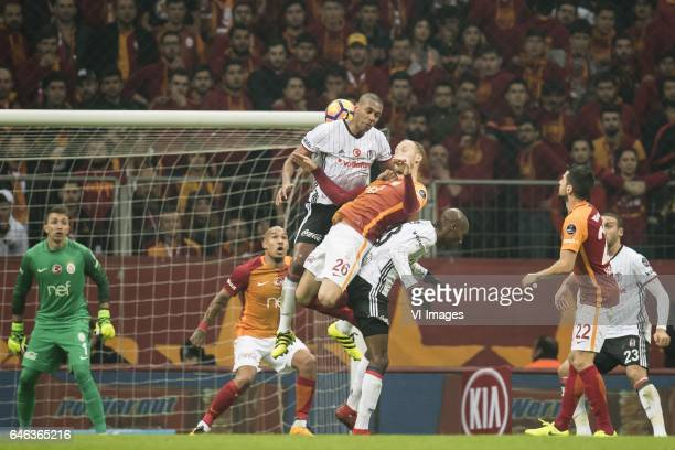 goalkeeper Nestor Fernando Muslera of Galatasaray Nigel de Jong of Galatasaray Marcelo Antonio Guedes Filho of Besiktas JK Semih Kaya of Galatasaray...