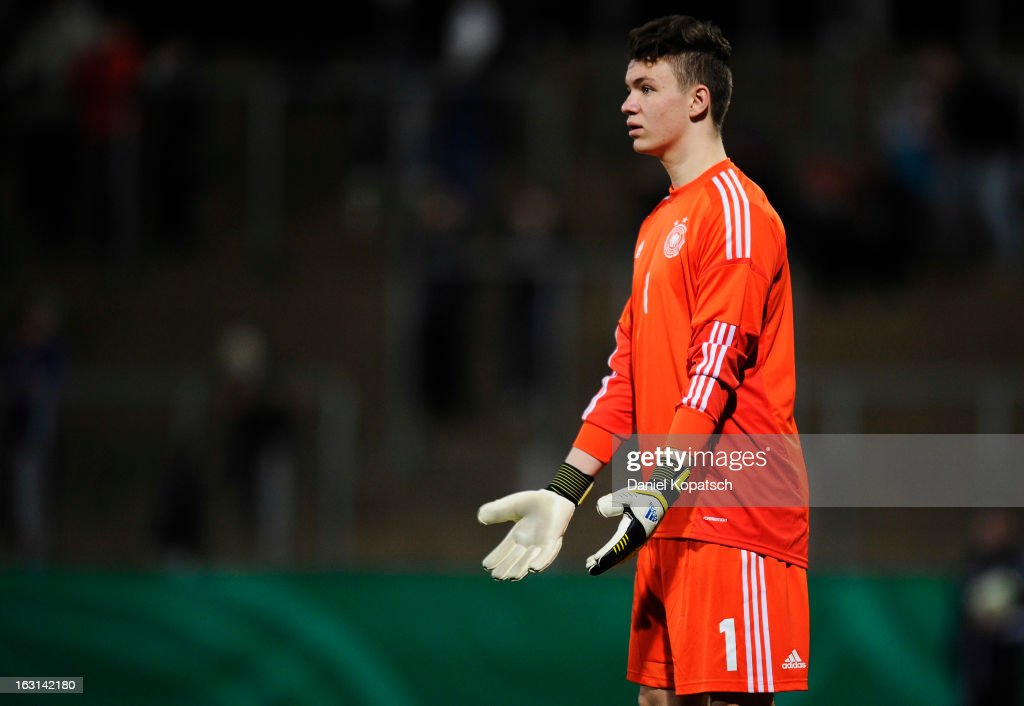 Goalkeeper Nikolas Tix of Germany reacts during the U16 international friendly match between Germany and Italy on March 5, 2013 at Waldstadion in Homburg, Germany.