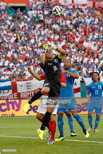 Goalkeeper Noel Valladares of Honduras goes up to punch away the shot by England on June 7 2014 during an International friendly match at SunLife...