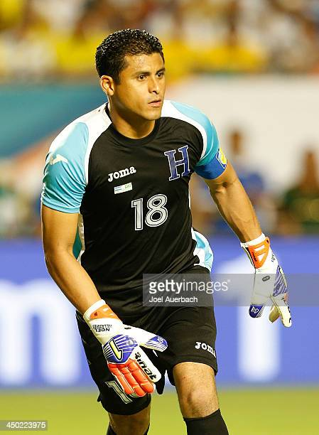 Goalkeeper Noel Valladares of Honduras looks on during second half action against Brazil on November 16 2013 during a friendly match at SunLife...