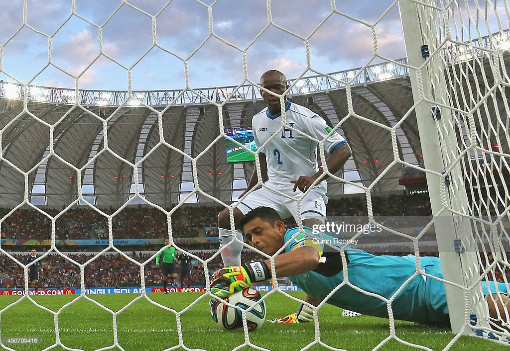 Goalkeeper Noel Valladares of Honduras scores an own goal, France's second, as he fumbles the ball over the line during the 2014 FIFA World Cup Brazil Group E match between France and Honduras at Estadio Beira-Rio on June 15, 2014 in Porto Alegre, Brazil.