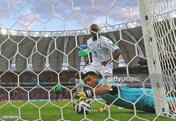 Goalkeeper Noel Valladares of Honduras scores an own goal France's second as he fumbles the ball over the line during the 2014 FIFA World Cup Brazil...