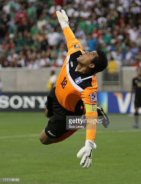 Goalkeeper Noel Valladares of Honduras watches the ball sail over the crossbar during a soccer game against Mexico at Reliant Stadium on June 22 2011...
