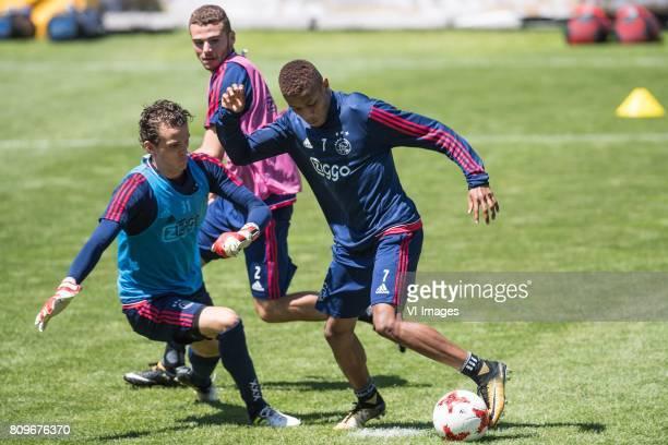 goalkeeper Norbert Alblas of Ajax Mauro Savastano of Ajax David Neres of Ajaxduring the preseason summer training camp of Ajax Amsterdam at...