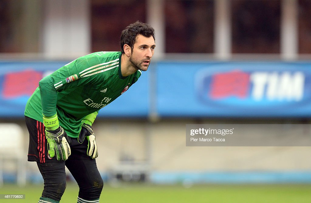 Goalkeeper of AC Milan Diego Lopez during the Serie A match between AC Milan and Atalanta BC at Stadio Giuseppe Meazza on January 18, 2015 in Milan, Italy.