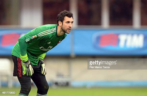 Goalkeeper of AC Milan Diego Lopez during the Serie A match between AC Milan and Atalanta BC at Stadio Giuseppe Meazza on January 18 2015 in Milan...