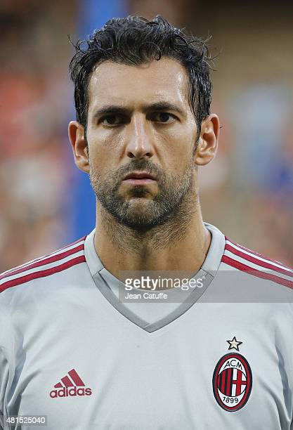 Goalkeeper of AC Milan Diego Lopez looks on before the friendly match between Olympique Lyonnais and AC Milan at Stade de Gerland on July 18 2015 in...