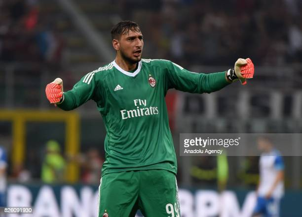 Goalkeeper of AC Milan Gianluigi Donnarumma celebrates after his team scored a goal during the UEFA Europa League third qualifying round 2nd leg...