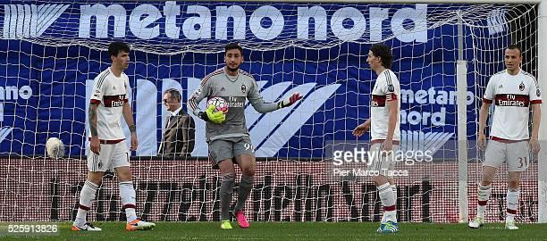 Goalkeeper of AC Milan Gianluigi Donnarumma looks during the Serie A match between Hellas Verona FC and AC Milan at Stadio Marc'Antonio Bentegodi on...