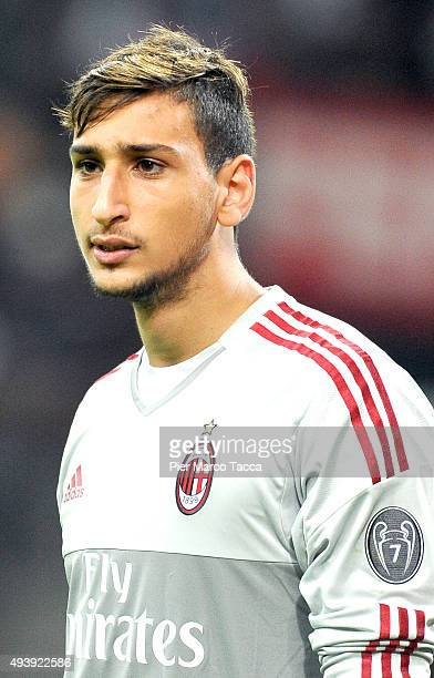 Goalkeeper of AC Milan Gianluigi Donnarumma looks during the Berlusconi Trophy match between AC Milan and FC Internazionale at Stadio Giuseppe Meazza...