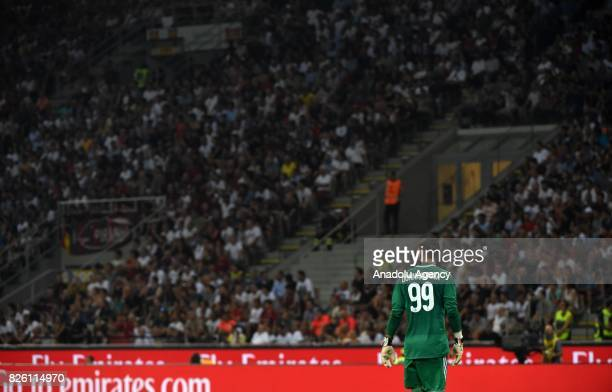 Goalkeeper of AC Milan Gianluigi Donnarumma looks on during UEFA Europa League Qualifying Round match between AC Milan and CS U Craiova at Giuseppe...