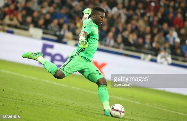 Goalkeeper of Ajax Amsterdam Andre Onana during the UEFA Europa League semi final second leg match between Olympique Lyonnais and Ajax Amsterdam at...
