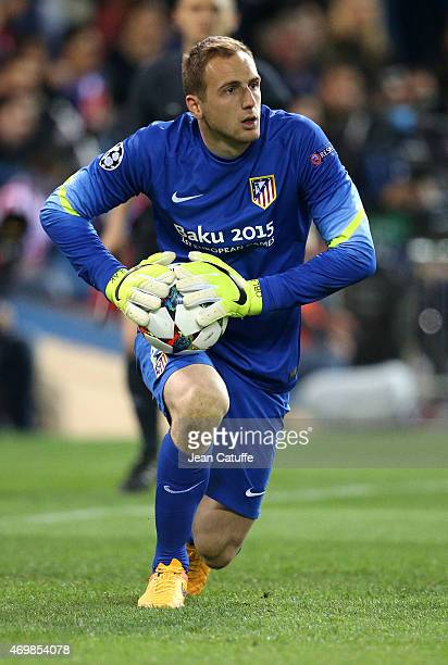 Goalkeeper of Atletico Madrid Jan Oblak in action during the UEFA Champions League Quarter Final First Leg match between Atletico Madrid and Real...