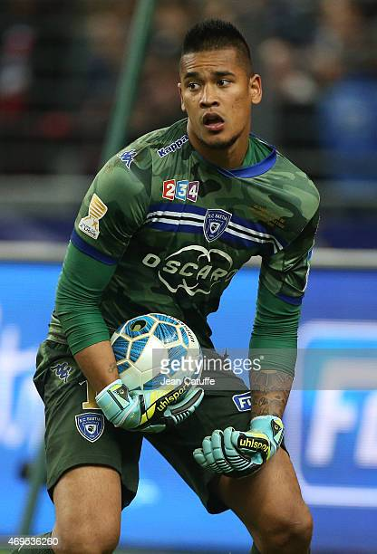 Goalkeeper of Bastia Alphonse Areola in action during the French League Cup final between Paris SaintGermain FC and Sporting Club de Bastia at Stade...