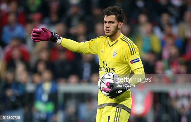 Goalkeeper of Benfica Ederson Santana de Moraes in action during the UEFA Champions League quarter final first leg match between FC Bayern Muenchen...
