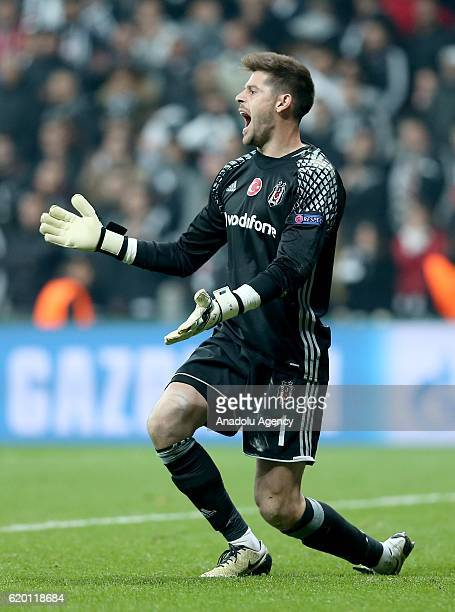 Goalkeeper of Besiktas Fabricio Agosto Ramirez reacts during the UEFA Champions League football match between Besiktas and Napoli at the Vodafone...