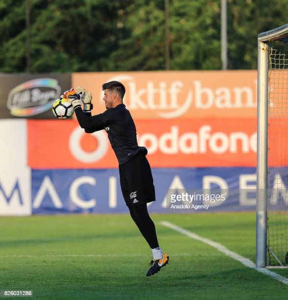 Goalkeeper of Besiktas Fabricio attends a training session ahead of Turkcell Super Cup between Besiktas and Atiker Konyaspor at Nevzat Demir Sports...