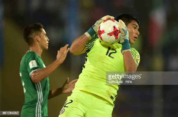 Goalkeeper of Chile Julio Borquez in action during the FIFA U17 World Cup India 2017 group E match between Mexico and Chile at Indira Gandhi Athletic...