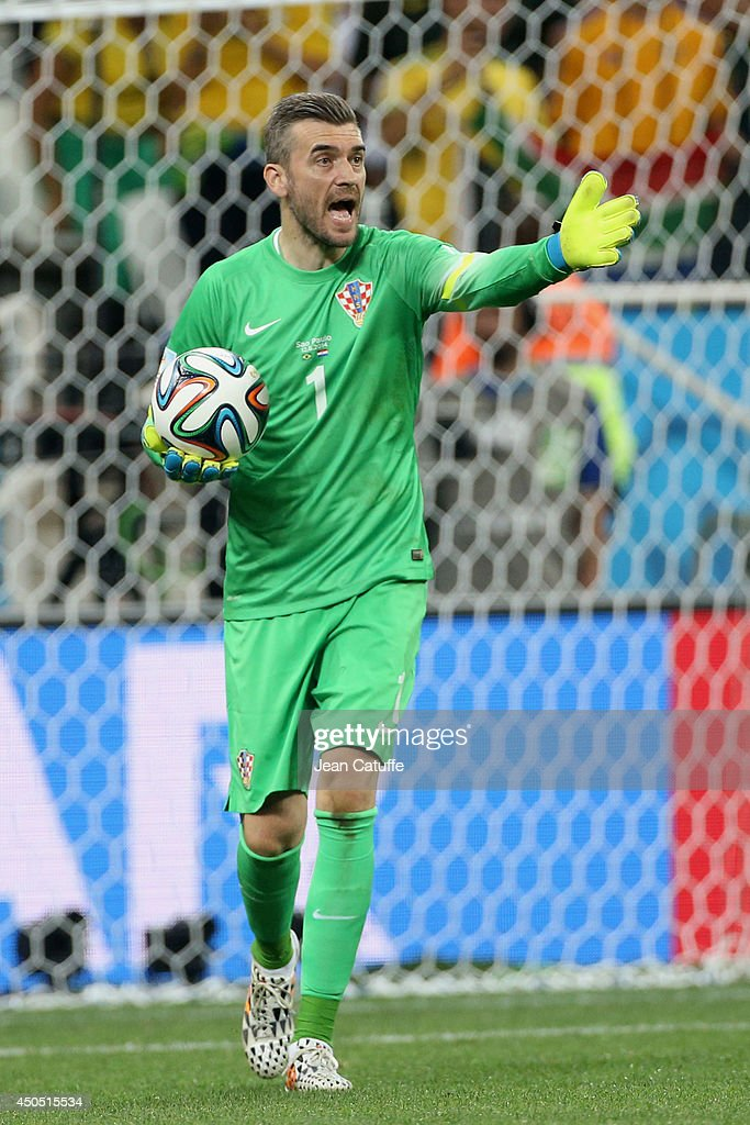 Goalkeeper of Croatia Stipe Pletikosa reacts during the 2014 FIFA World Cup Brazil Group A match between Brazil and Croatia at Arena de Sao Paulo on...