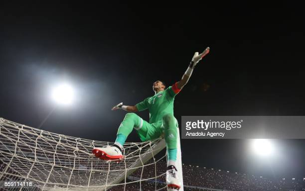 Goalkeeper of Egypt Essam El Hadary celebrates after the 2018 World Cup Africa Group E Qualifying match between Egypt and Congo at the Borg elArab...