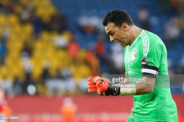 Goalkeeper of Egypt Essam El Hadary celebrates at the end of the African Cup of Nations 2017 Group D football match between Ghana and Egypt in...